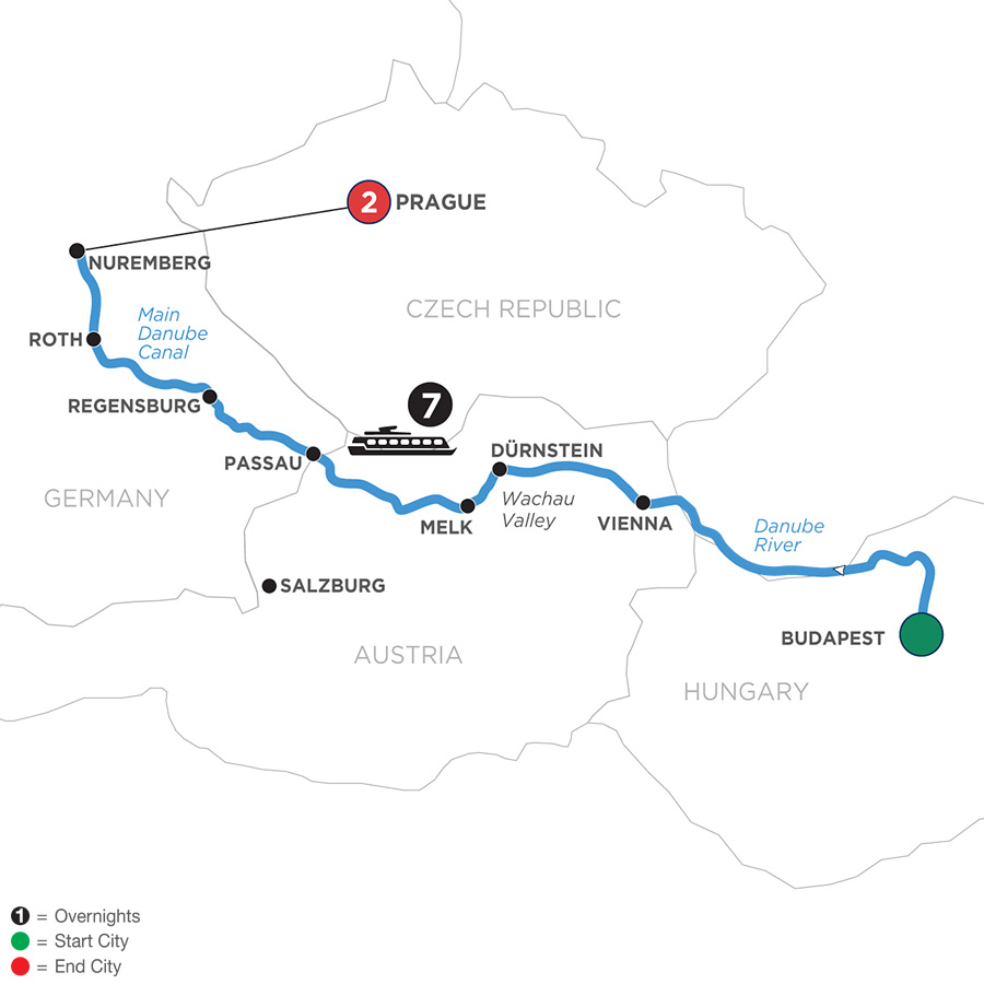 River Cruise Map of Festive Season on The Blue Danube Discovery with 2 Nights in Prague