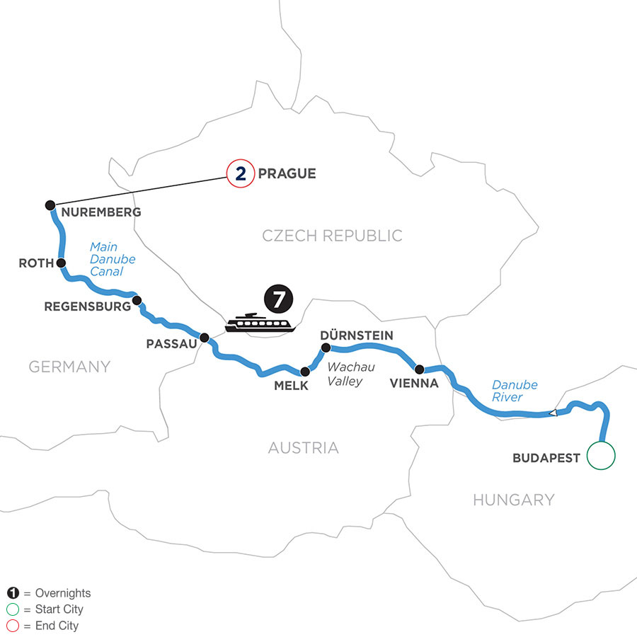 River Cruise Map of The Blue Danube Discovery with 2 nights in Prague