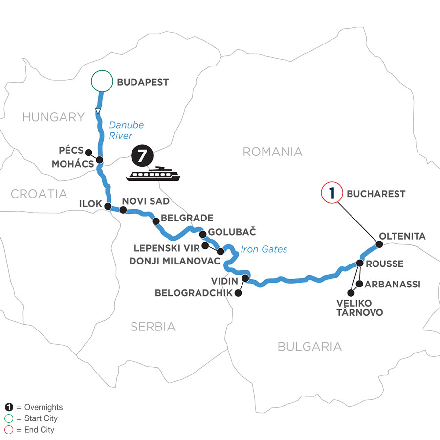 River Cruise Map of Balkan Discovery for Photography Enthusiasts