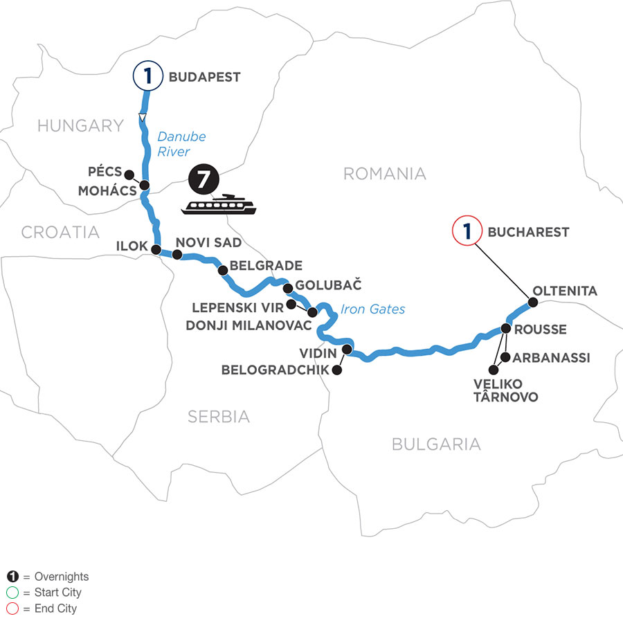 River Cruise Map of Balkan Discovery with 1 night in Budapest