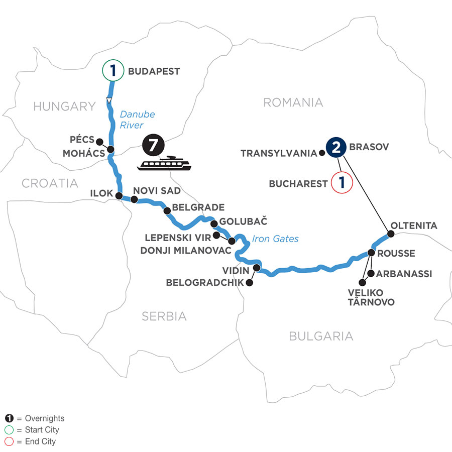 River Cruise Map of Balkan Discovery with 1 Night in Budapest & 2 Nights in Transylvania for Photography Enthusiasts