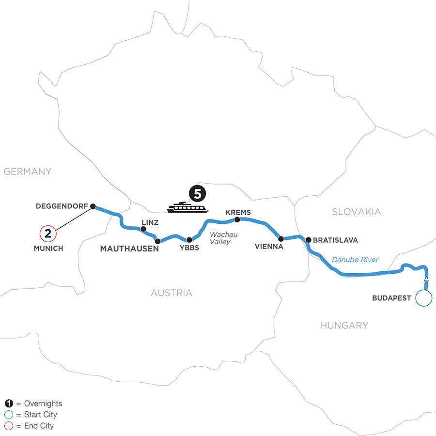 River Cruise Map of Danube Symphony with 2 nights in Munich