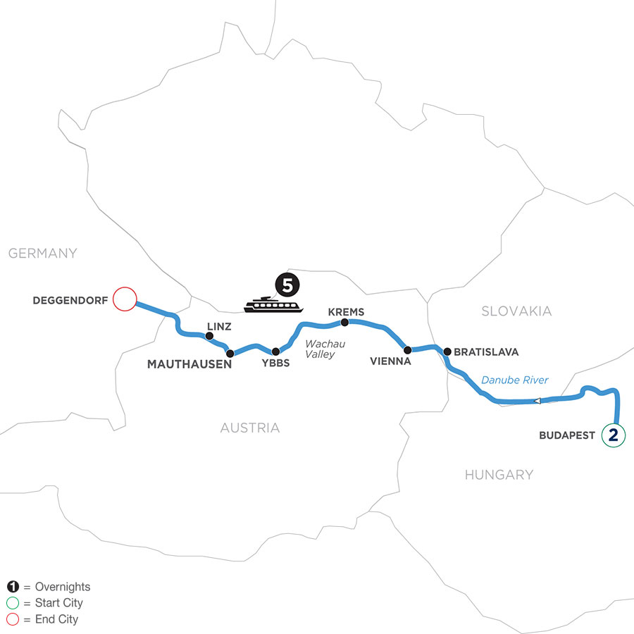 River Cruise Map of Danube Symphony with 1 night in Budapest