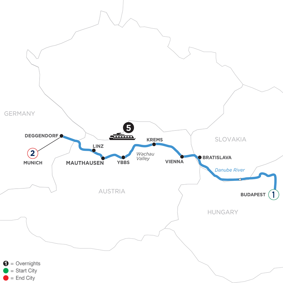 River Cruise Map of Danube Symphony with 2 nights in Munich & 1 night in Budapest