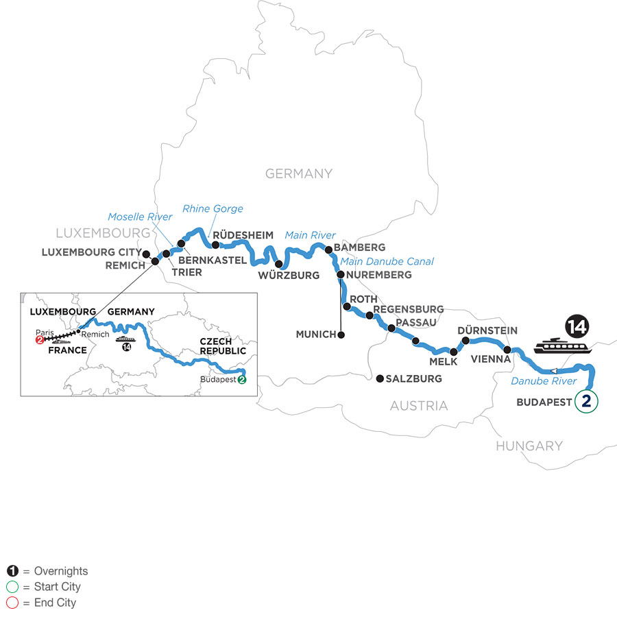 River Cruise Map of Jewels of Central Europe with 2 nights in Budapest & 2 nights in Paris