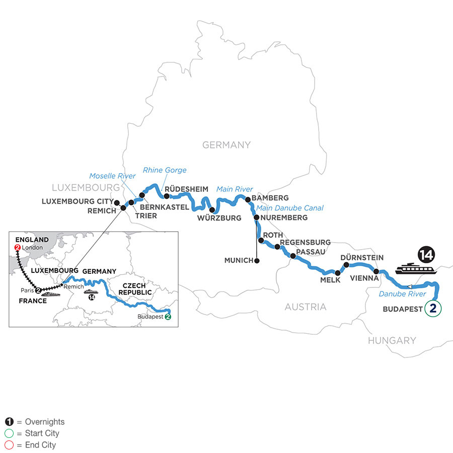 River Cruise Map of Jewels of Central Europe with 2 nights in Budapest, 2 nights in Paris & 2 nights in London