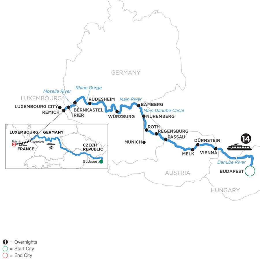 River Cruise Map of Jewels of Central Europe with 2 nights in Paris