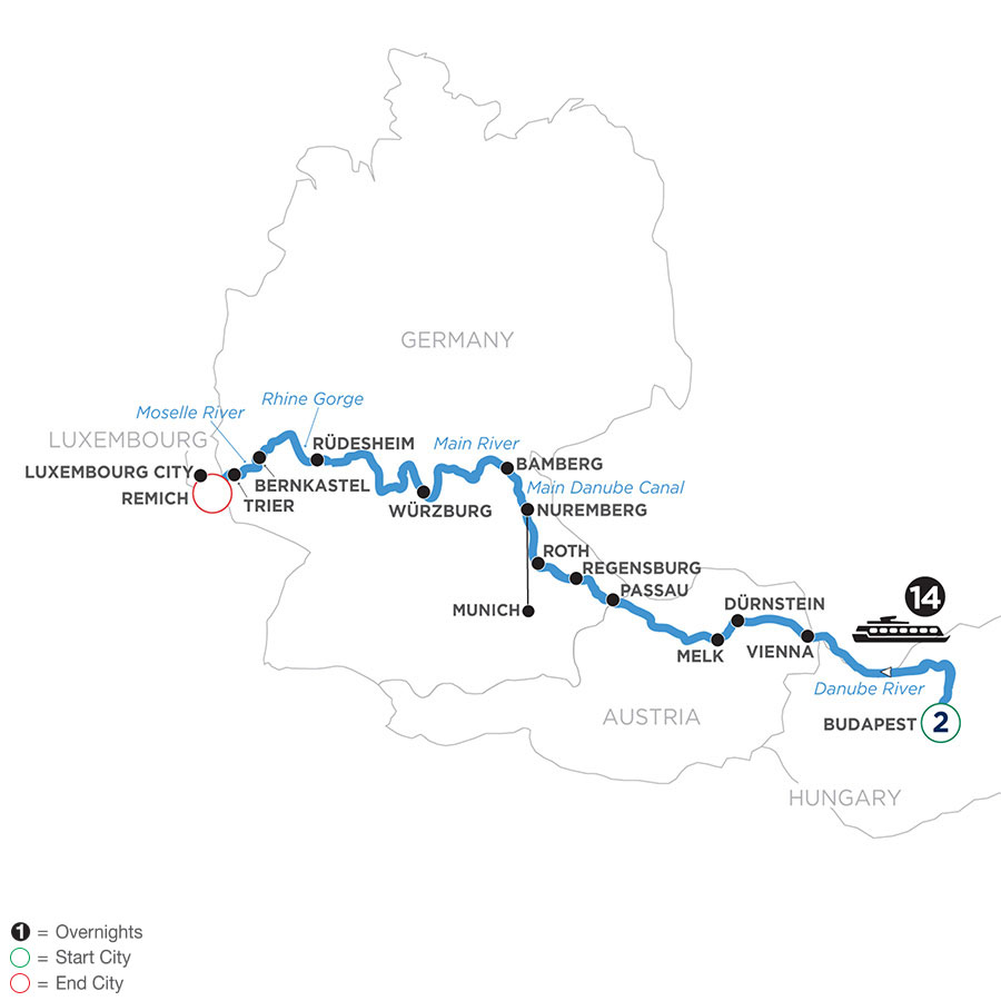 River Cruise Map of Jewels of Central Europe with 2 nights in Budapest