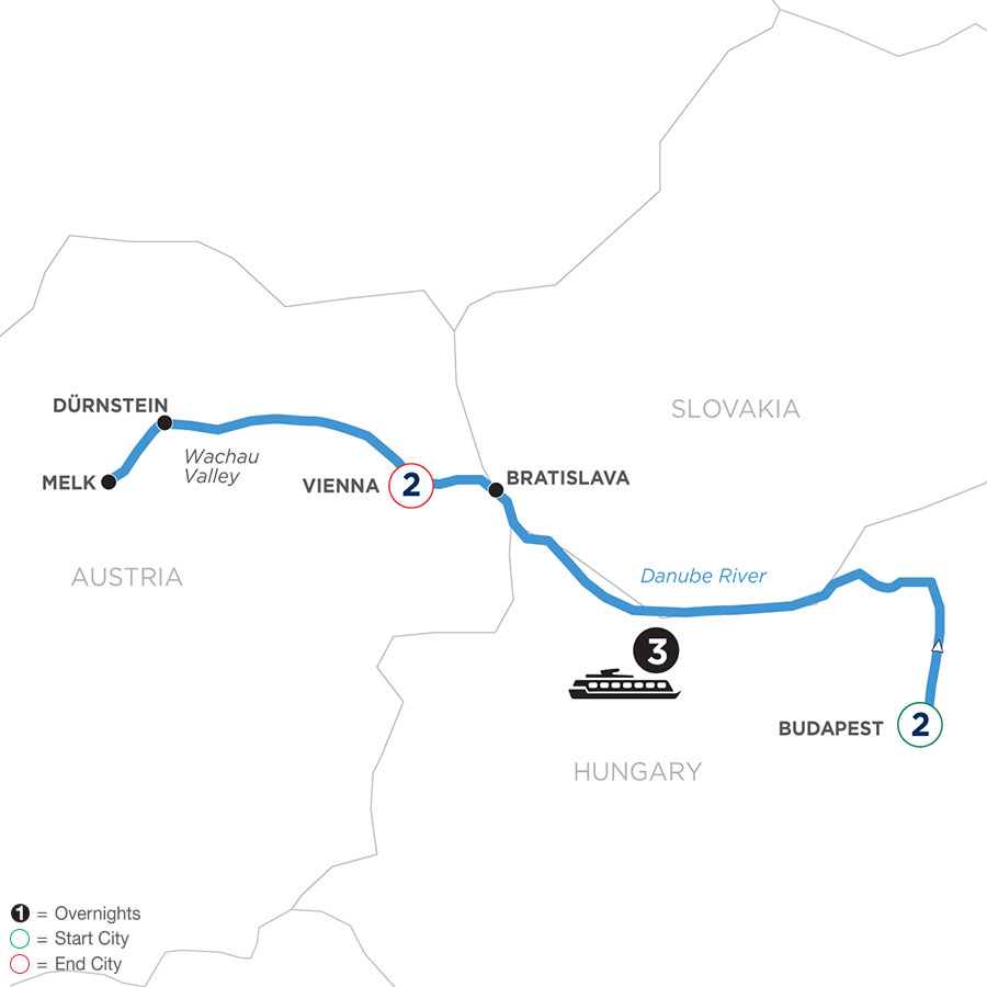 River Cruise Map of A Taste of the Danube with 2 nights in Budapest & 2 nights in Vienna