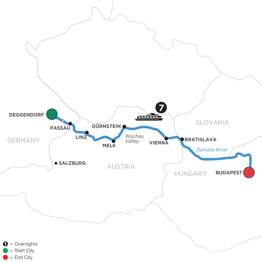 River Cruise Map of Danube Dreams for Wine Lovers (Eastbound)