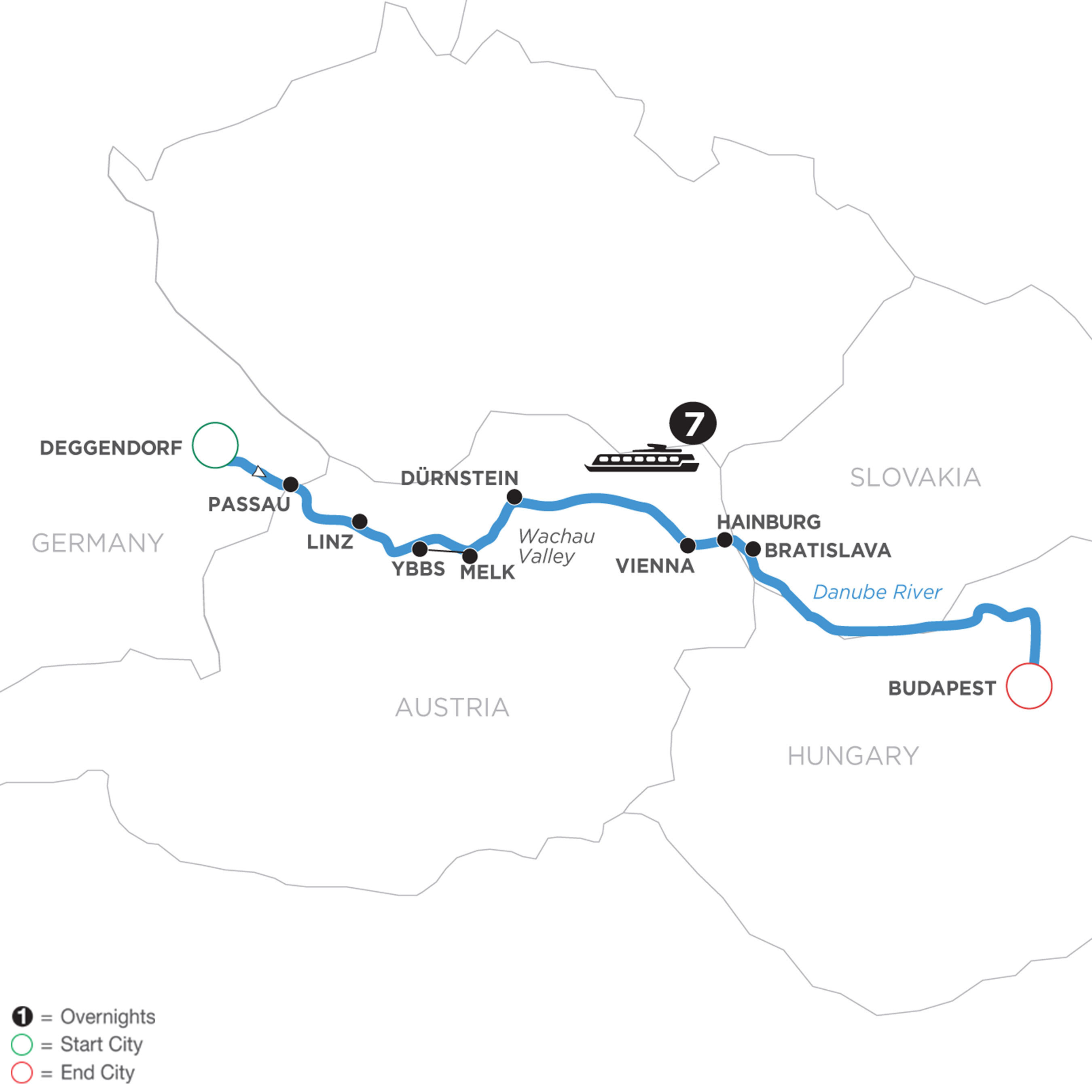 River Cruise Map of Danube Dreams (Eastbound)