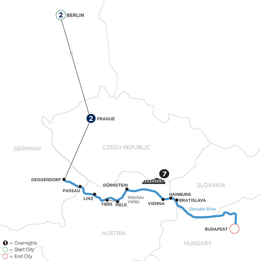 River Cruise Map of Danube Dreams with 2 Nights in Berlin & 2 Nights in Prague (Eastbound)