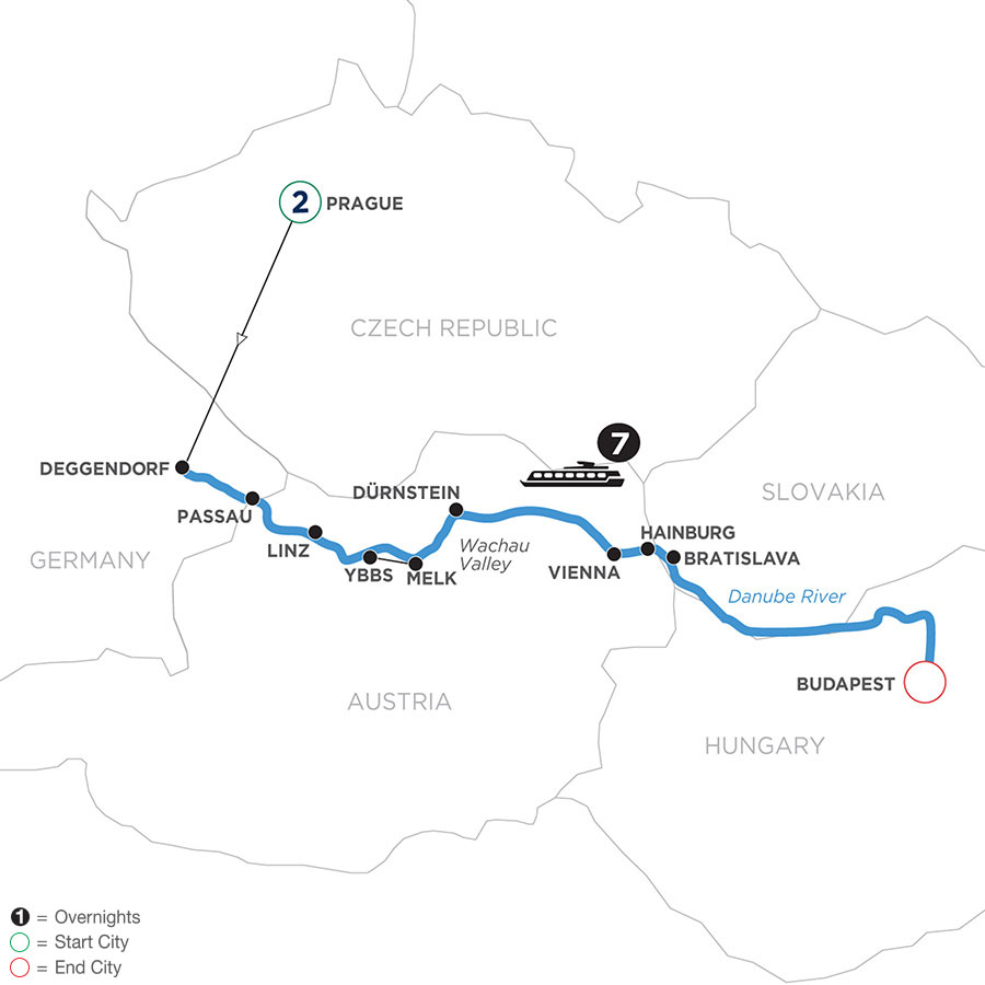 River Cruise Map of Danube Dreams with 2 Nights in Prague (Eastbound)