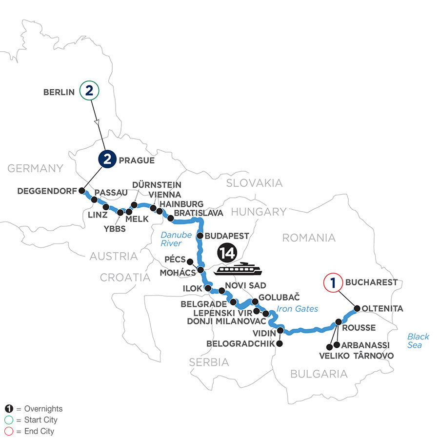 River Cruise Map of The Danube from Germany to the Black Sea with 2 Nights in Berlin & 2 Nights in Prague
