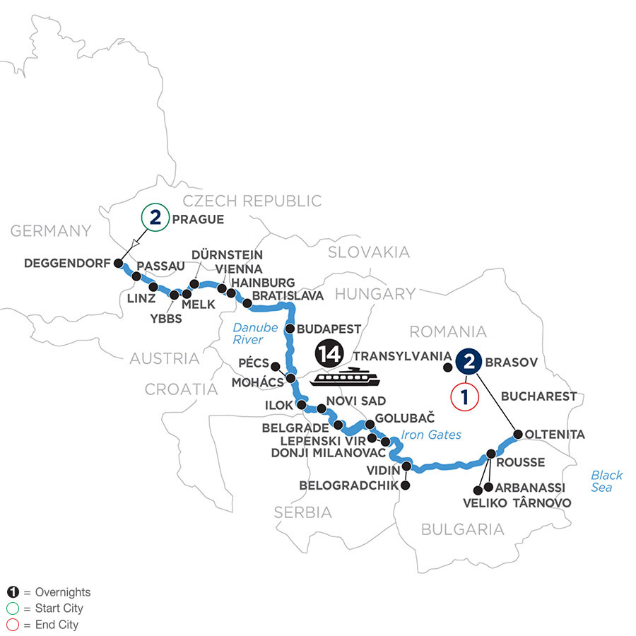 River Cruise Map of The Danube from Germany to the Black Sea with 2 Nights in Prague & 2 Nights in Transylvania