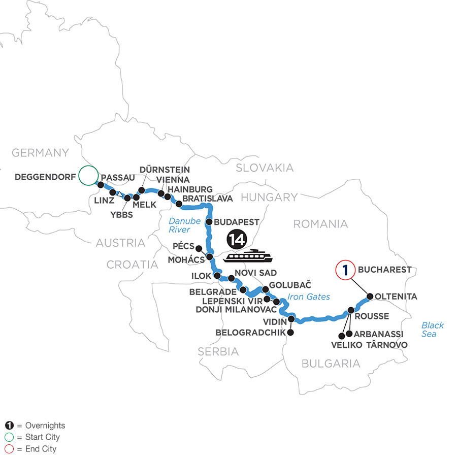 River Cruise Map of The Danube from Germany to the Black Sea