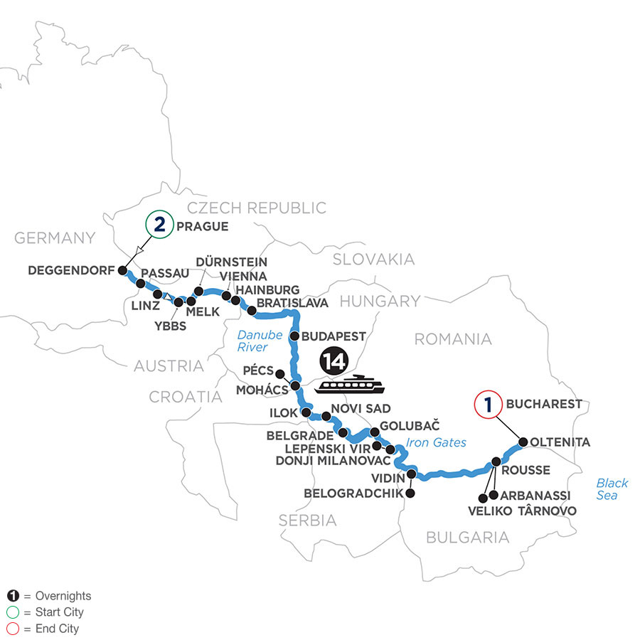 River Cruise Map of The Danube from Germany to the Black Sea with 2 Nights in Prague