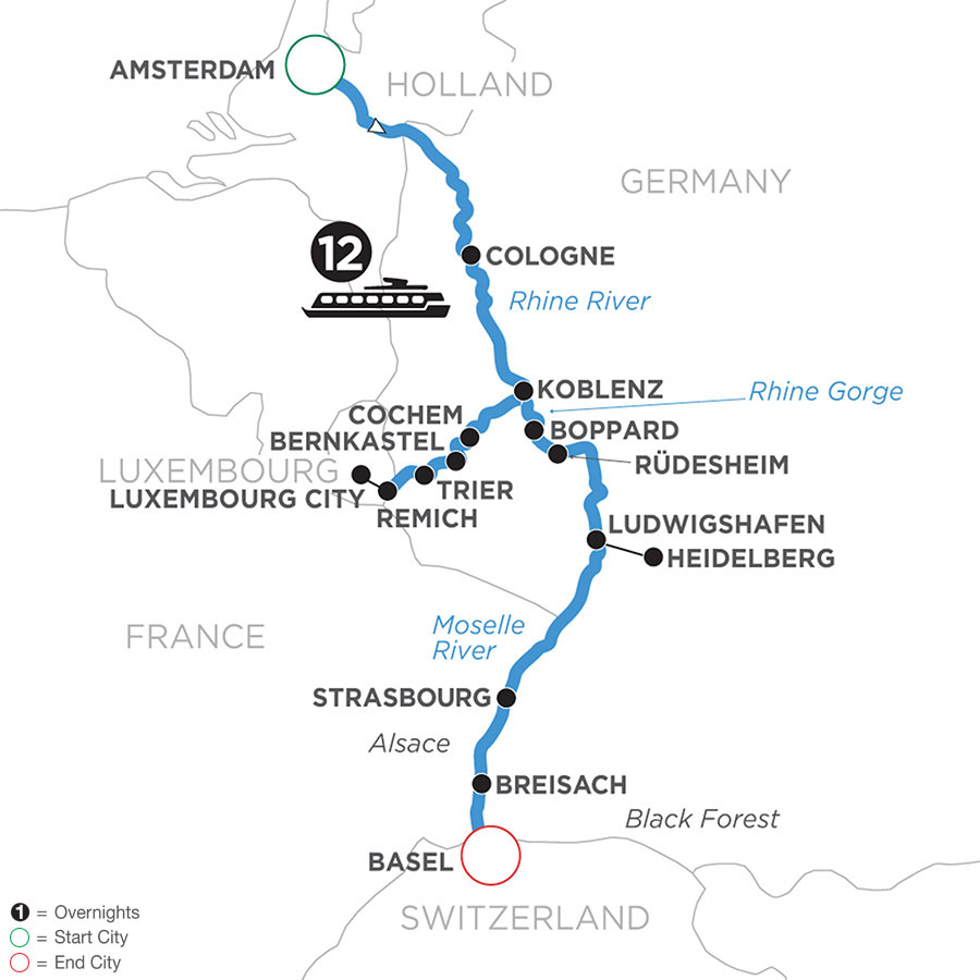 River Cruise Map of The Rhine & Moselle (Southbound)