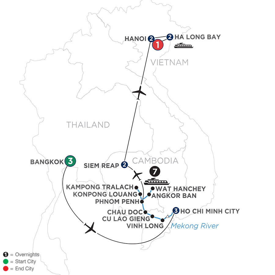River Cruise Map of The Heart of Cambodia & Vietnam with Bangkok (Northbound)