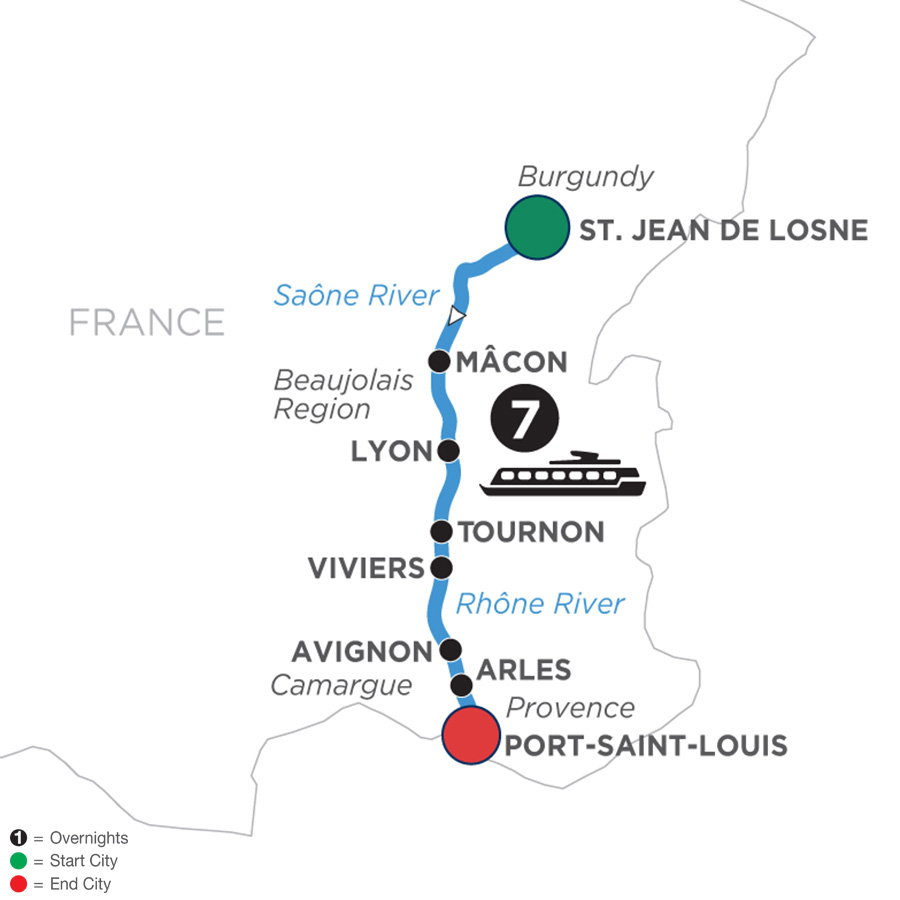 River Cruise Map of Burgundy & Provence for Wine Lovers (Southbound)