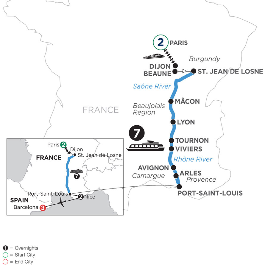 River Cruise Map of Burgundy and Provence with 2 nights in Paris, 2 nights in Nice & 3 nights in Barcelona
