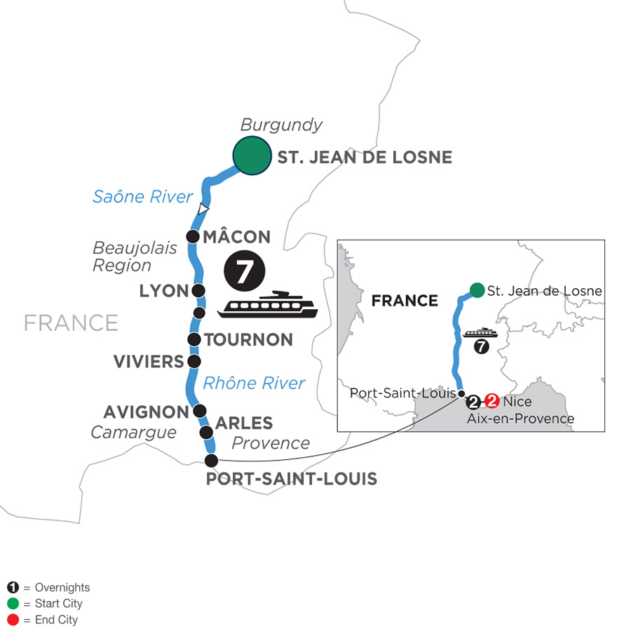 River Cruise Map of Burgundy & Provence with 2 Nights in Aix-en-Provence & 2 Nights in Nice for Wine Lovers (Southbound)