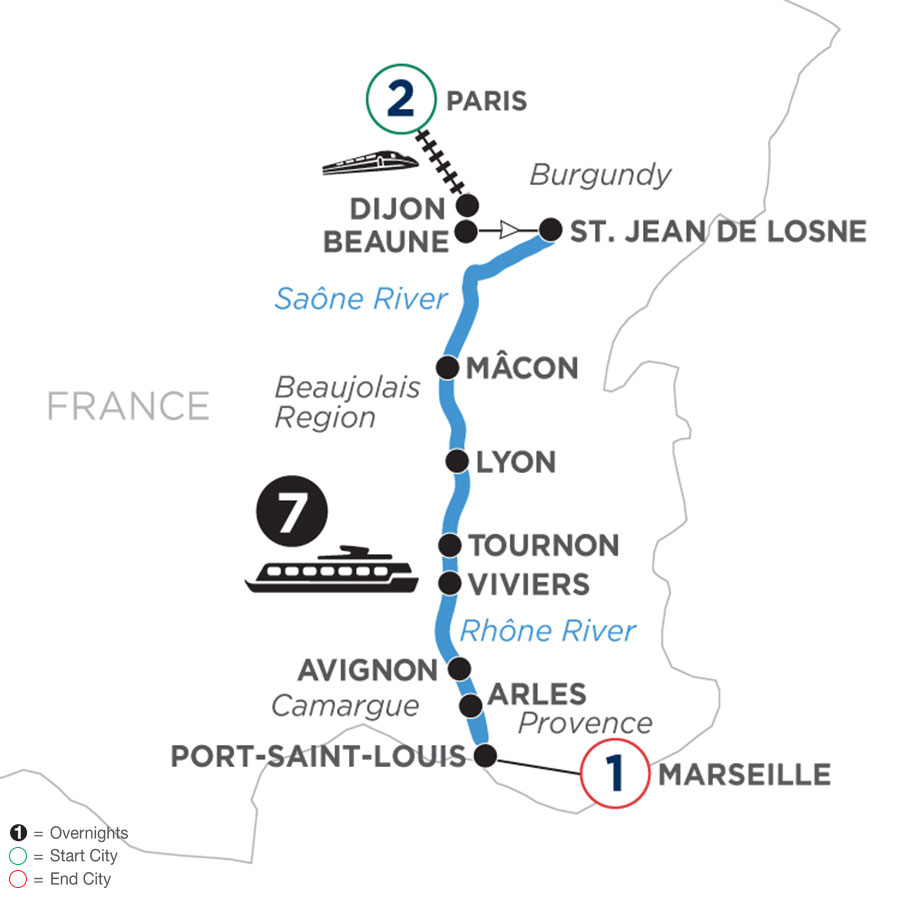 River Cruise Map of Burgundy & Provence with 2 nights in Paris and 1 night in Marseille
