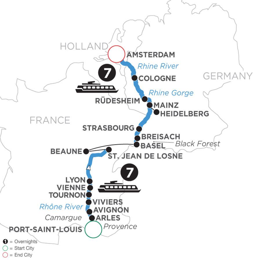 River Cruise Map of Rhine & Rhône Revealed (Northbound)
