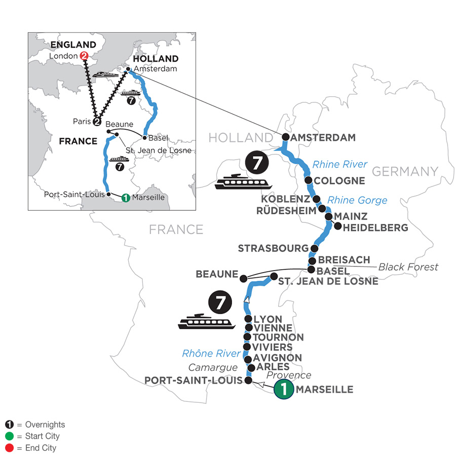 River Cruise Map of Rhine & Rhône Revealed with 1 Night in Marseille, 2 Nights in Paris & 2 Nights in London for Wine Lovers (Northbound)
