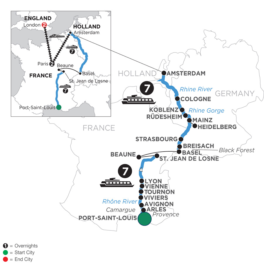 River Cruise Map of Rhine & Rhône Revealed with 2 Nights in Paris & 2 Nights in London for Wine Lovers (Northbound)