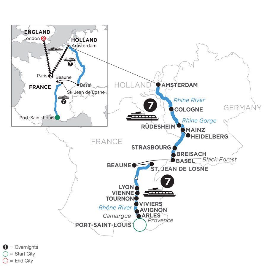 River Cruise Map of Rhine & Rhône Revealed with 2 Nights in Paris & 2 Nights in London (Northbound)