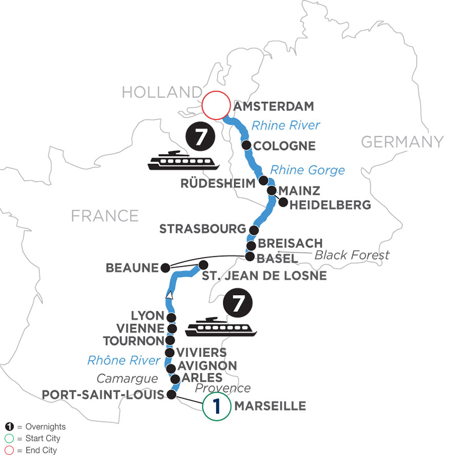 River Cruise Map of Rhine & Rhône Revealed with 1 Night in Marseille (Northbound)