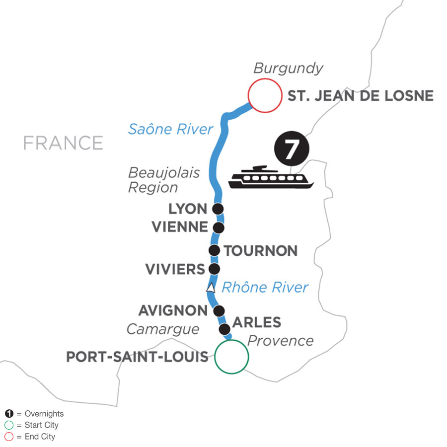 River Cruise Map of Burgundy & Provence (Northbound)