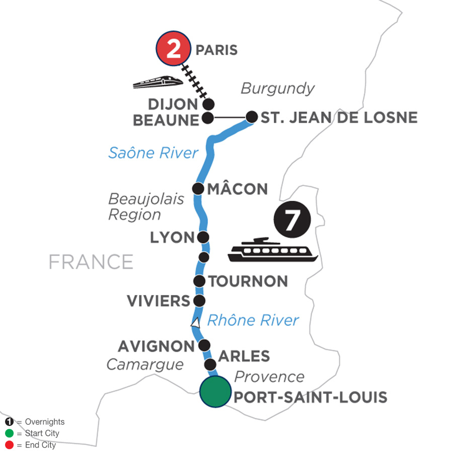 River Cruise Map of Burgundy & Provence with 2 Nights in Paris for Wine Lovers (Northbound)