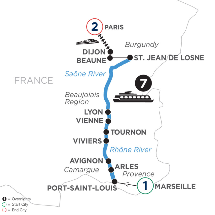 River Cruise Map of Burgundy & Provence with 1 Night in Marseille & 2 Nights in Paris (Northbound)