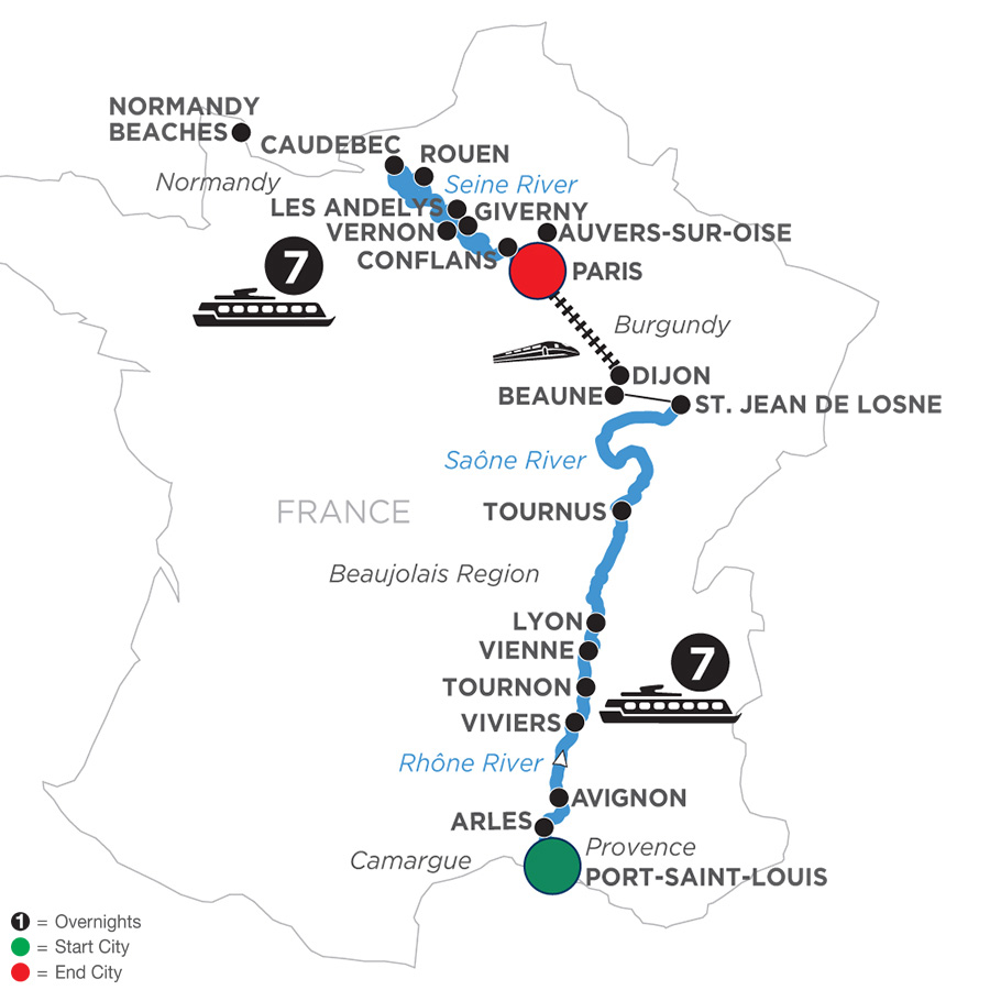 River Cruise Map of Grand France for Wine Lovers (Northbound)