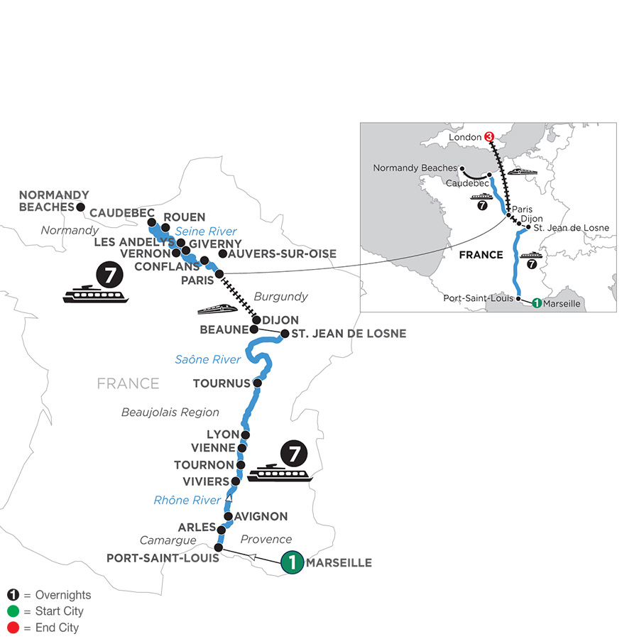 River Cruise Map of Grand France with 1 Night in Marseille & 3 Nights in London for Wine Lovers (Northbound)
