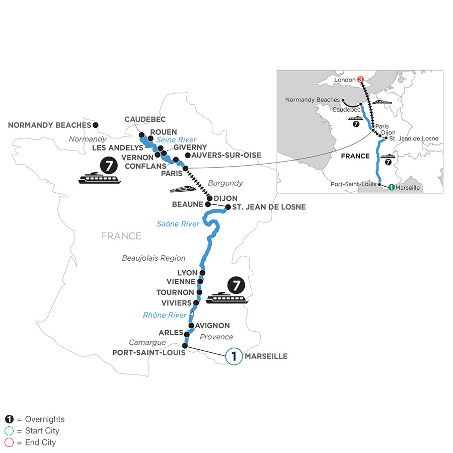 River Cruise Map of Grand France with 1 Night in Marseille & 3 Nights in London (Northbound)