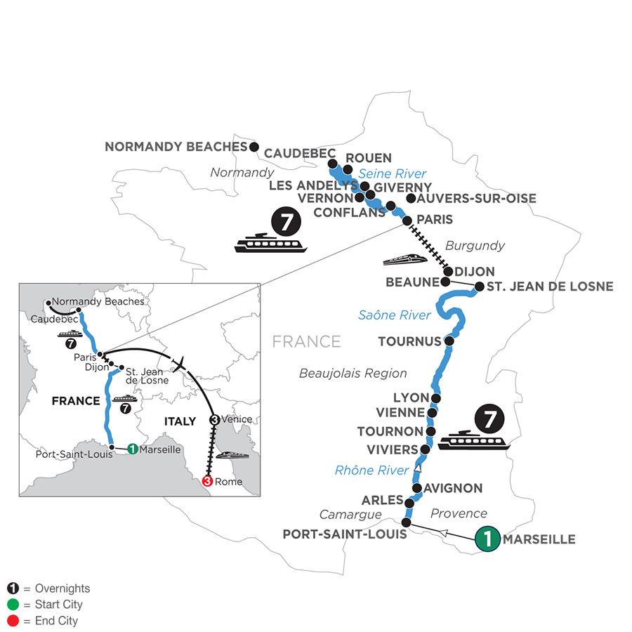 River Cruise Map of Grand France with 1 Night in Marseille, 3 Nights in Venice & 3 Nights in Rome for Wine Lovers (Northbound)