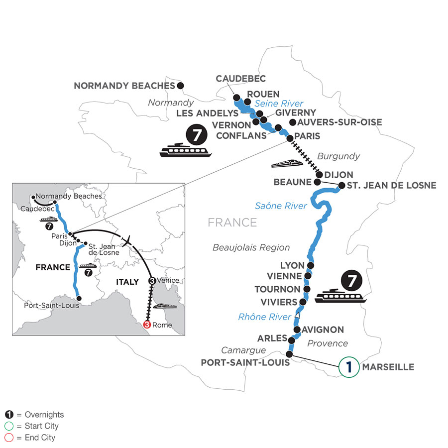River Cruise Map of Grand France with 1 Night in Marseille, 3 Nights in Venice & 3 Nights in Rome (Northbound)