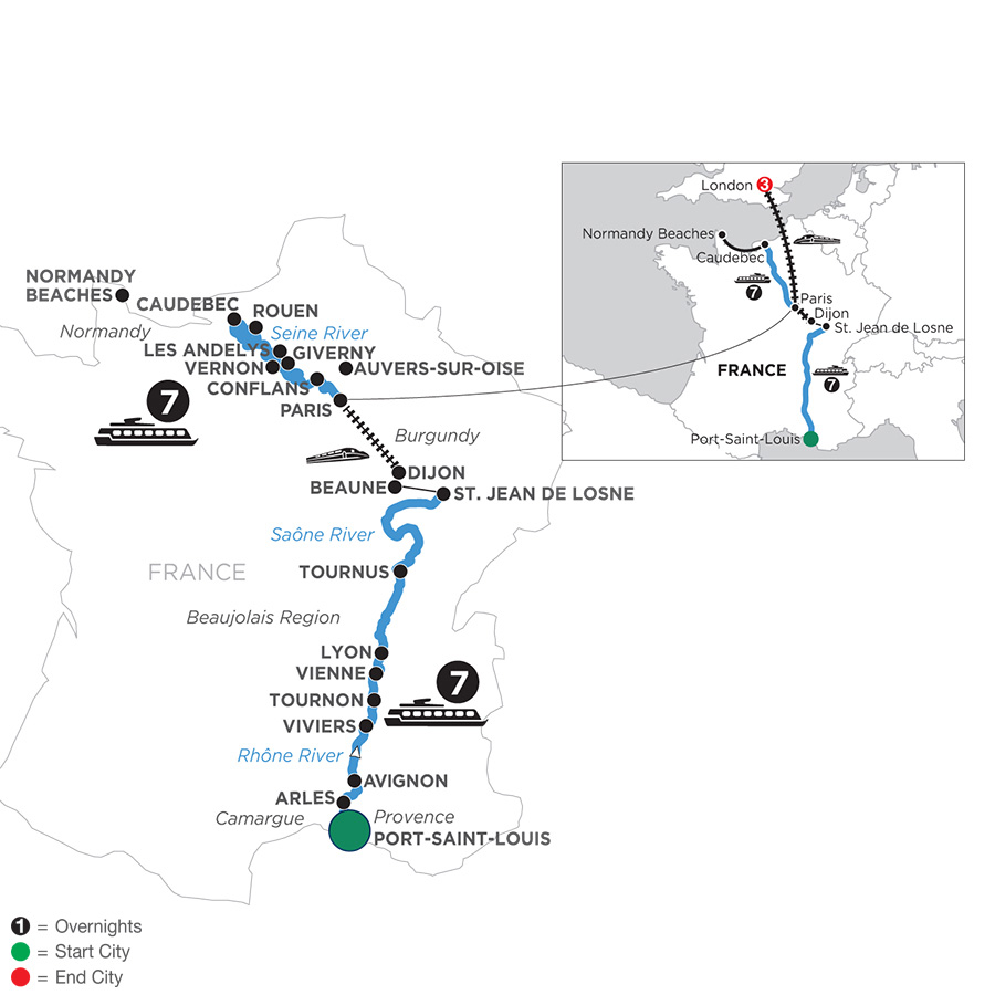 River Cruise Map of Grand France with 3 Nights in London for Wine Lovers (Northbound)