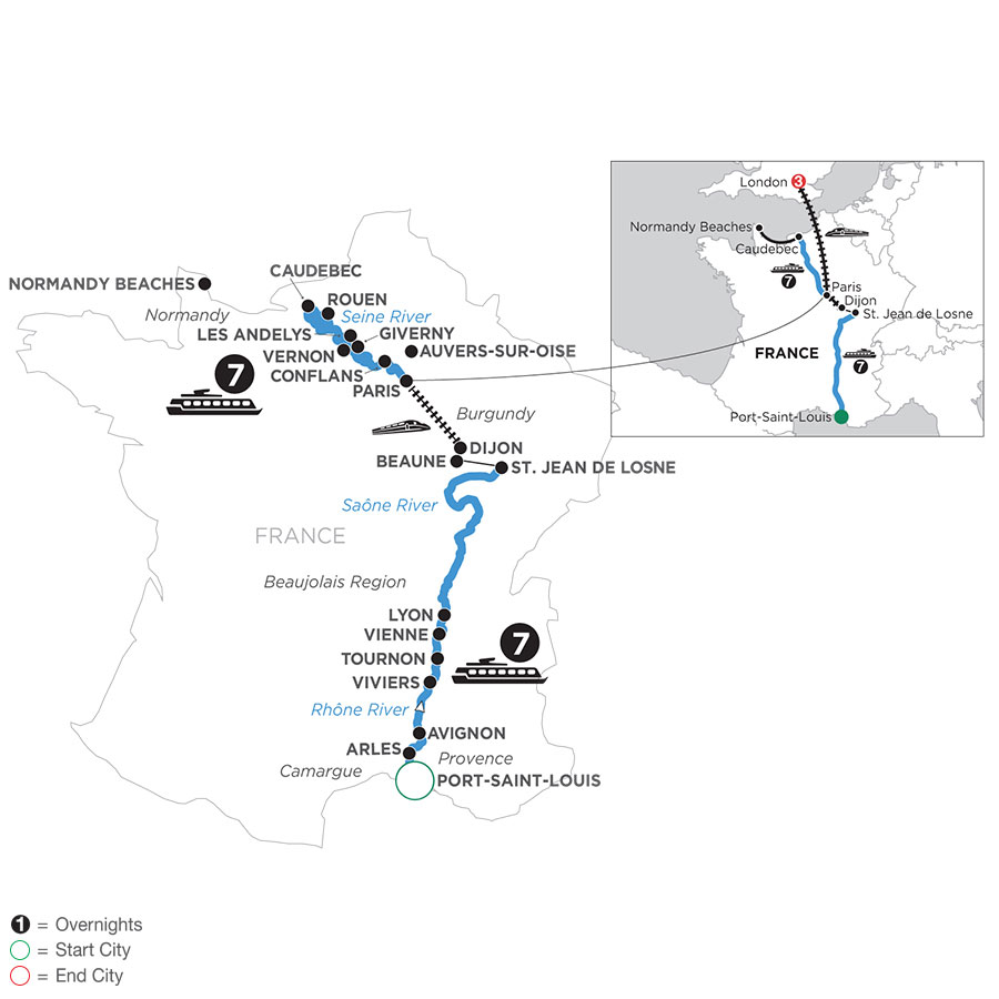 River Cruise Map of Grand France with 3 Nights in London (Northbound)
