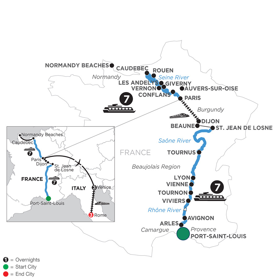 River Cruise Map of Grand France with 3 Nights in Venice & 3 Nights in Rome for Wine Lovers (Northbound)