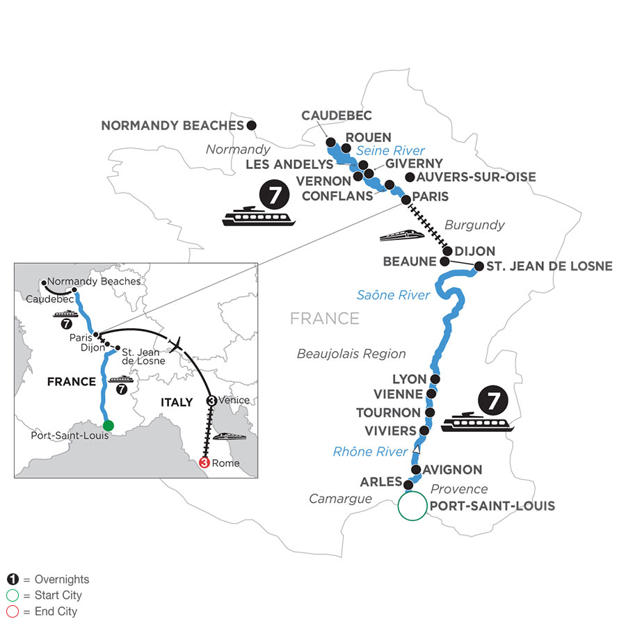 River Cruise Map of Grand France with 3 Nights in Venice & 3 Nights in Rome (Northbound)