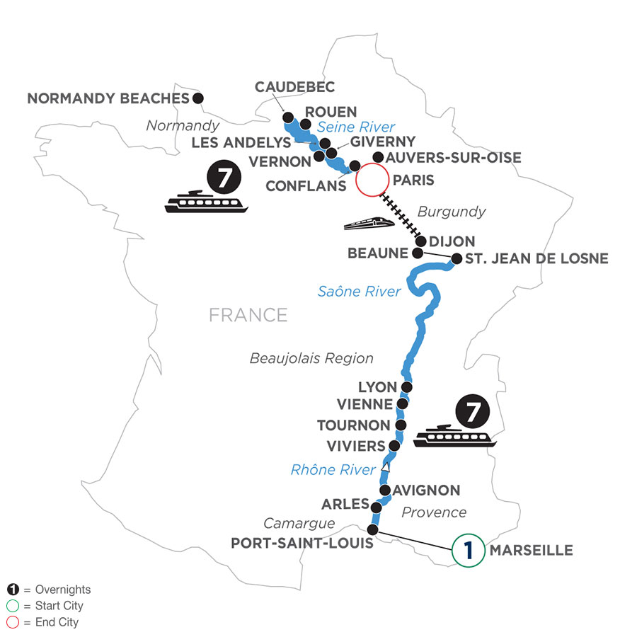 River Cruise Map of Grand France with 1 Night in Marseille (Northbound)