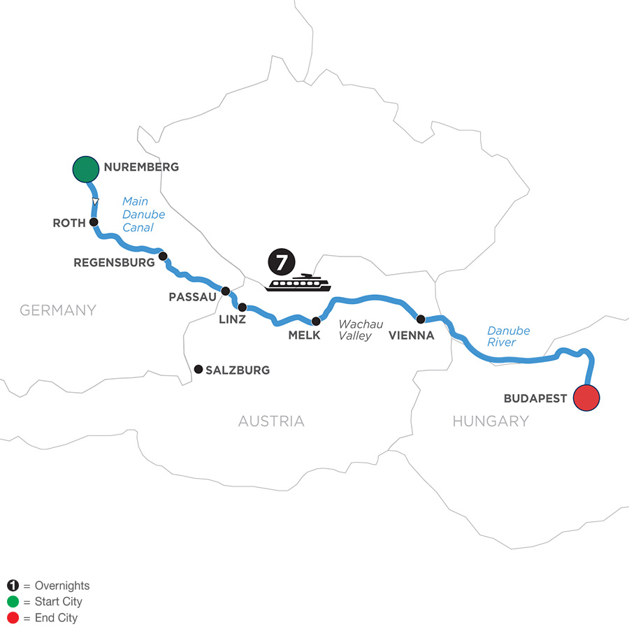 River Cruise Map of Festive Season on The Legendary Danube