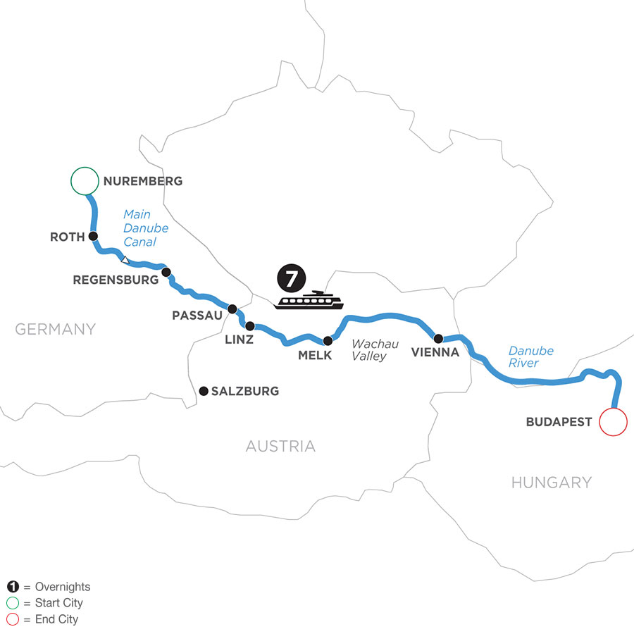 River Cruise Map of The Legendary Danube with Jewish Heritage