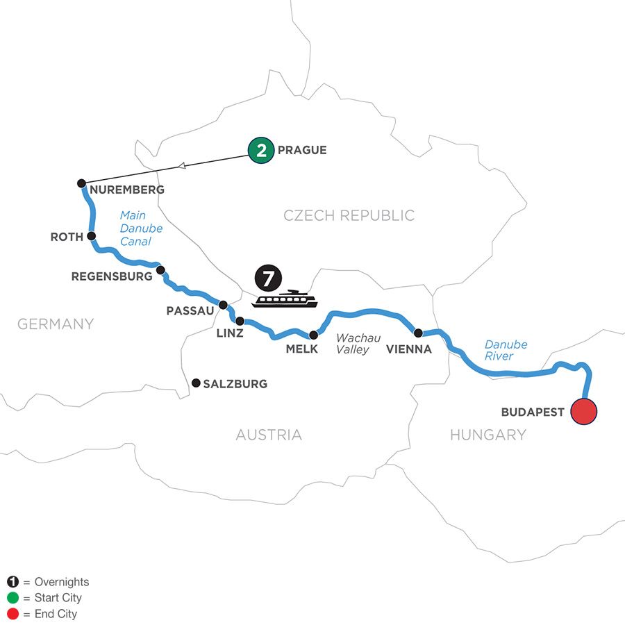River Cruise Map of Festive Season on The Legendary Danube with 2 Nights in Prague