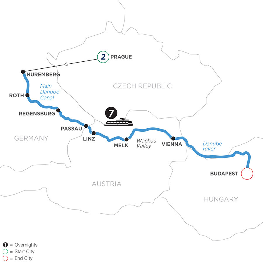 River Cruise Map of The Legendary Danube with 2 Nights in Prague