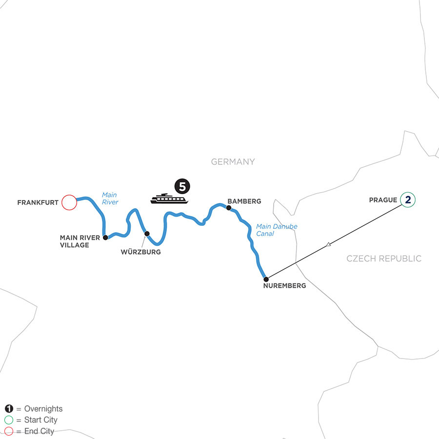 River Cruise Map of Festive Season in the Heart of Germany with 2 Nights in Prague